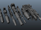 TF Guns Set-01 (9 Blasters) in White Strong & Flexible Polished