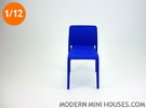 First Modern Dining Chair 1:12 scale in Blue Strong & Flexible Polished
