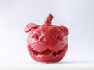 Pug-O-Lantern in Gloss Red Porcelain