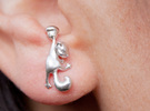 Squirrel Earrings in Raw Silver