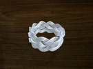 Turk's Head Knot Ring 4 Part X 10 Bight - Size 11 in White Strong & Flexible