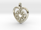 Halo Heart Pendant in 14k White Gold