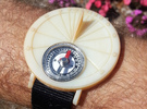 Sundial Wristwatch With Compass For 27.75°N in White Acrylic