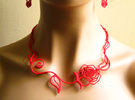 Leaves, Love & Roses Necklace  in Red Strong & Flexible Polished