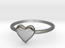 Heart-ring-solid-size-8 in Polished Silver