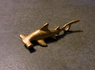 Hammerhead Shark Pendant in Polished Gold Steel