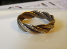 Braided ring 22mm  (Large) in Polished Bronze Steel