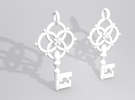 Old Key Earrings in White Strong & Flexible