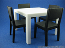 Quatro Modern Dining Table 1:12 scale in White Strong & Flexible Polished