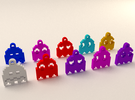 Pac Man Ghost 8-bit Earring 2 (looks down | moving in Red Strong & Flexible Polished