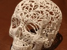 Skull Filagree - v1 -10.5cm  in White Strong & Flexible