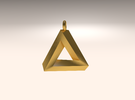 Penrose Triangle - Pendant (3.5cm | 3.5mm O-Ring) in Matte Gold Steel