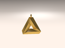 Penrose Triangle - Pendant (3cm | 2.5mm O-Ring) in Stainless Steel