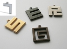 ABC Pendant - 7 Type - Solid - 24x24x3 mm in White Strong & Flexible