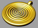 spiral pendant III in Polished Gold Steel