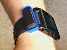 Watchband Holder for Fitbit Flex - Pebble Version in Blue Strong & Flexible Polished