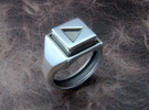Play Button Ring in Polished Silver