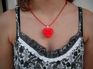 Hearts in Heart Pendant in Red Strong & Flexible Polished