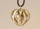 Heart Cage Pendant in Polished Silver