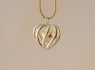 Heart Cage Pendant - Small, No Arrow in Polished Silver