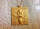 Etruscan Bee Goddess Pendant in Polished Gold Steel
