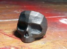 Lapidated Skull - Size 10 (inner diameter = 19.76  in Matte Bronze Steel
