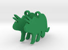 Triceratops earrings in Green Strong & Flexible Polished