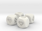 Hearts Fudge Dice SOLID (x4) Fate dF in White Strong & Flexible