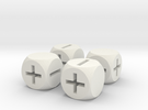 Basic Fudge Dice HOLLOW (x4) Fate dF in White Strong & Flexible