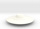 Flying Saucer Miniature 2 in White Strong & Flexible Polished