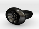 S46 Sm. Signet Ring BSF With Beads in Matte Black Steel