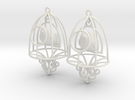Bird in a Cage Earrings 07 in White Strong & Flexible