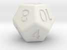 12-sided die (d12) in White Strong & Flexible