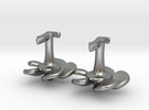 Marine cufflinks with propeller and anchor  in Raw Silver
