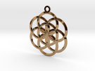 Seed Of Life Pendant - 02 in Polished Brass