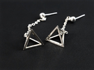 Tetrahedron earrings #Silver in Premium Silver