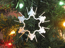 Snowflake Leonardo Ninja Turtle Ornament  in White Strong & Flexible