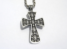 Ornate Cross Pendant - Large in Raw Silver