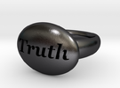 S46 Small Signet Truth Ring Scaled To Size 7.25  in Polished Grey Steel