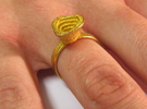 Gold Mine ring - UK P (inside diameter 17.93mm) in Polished Gold Steel