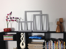 3-piece Modern Frame Collection 1:12 scale in Polished Metallic Plastic