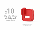 Multipack x10  Clip-it US Lightning edition in Red Strong & Flexible Polished