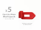 Multipack x5 Clip-it EU Lightning edition in Red Strong & Flexible Polished