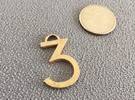 Lucky Number 3 Keychain in Matte Gold Steel