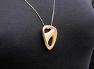 Evet Pendant (#1497) in Polished Gold Steel