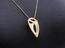 Makpal Pendant (#1671) in Polished Gold Steel