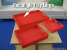 Rectangle Tray Large 1:12 scale in White Strong & Flexible Polished