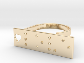 Adjustable ring. Love in Braille. in 14K Gold
