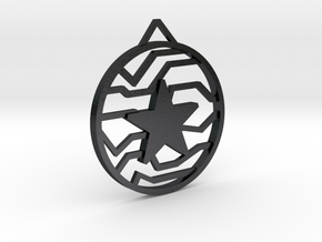 Winter Soldier Star Pendant (Large) in Polished Grey Steel