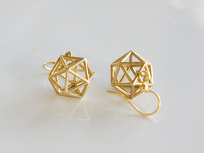 Icosahedron Earrings in Raw Brass
